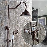 SUN-Lusso combinazione retrò doccia rame doccia-Head / Handheld-doccia (Ottone Impatto Della Testa)