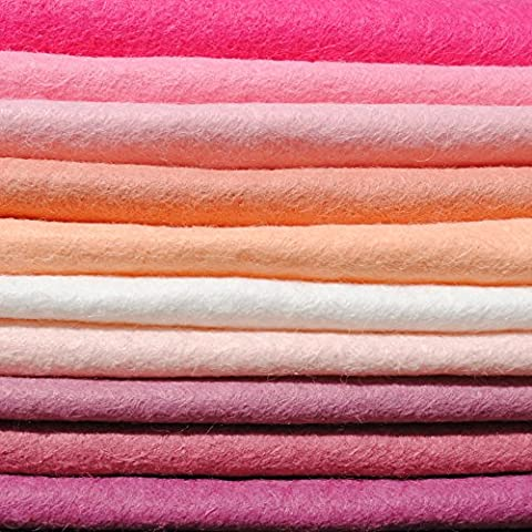 Wool Blend Craft Felt - Girls Pinks - FREE UK SHIPPING - Assorted Pink Felt (9 inch / 23cm)