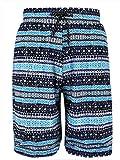 Feoya - Bañador Transpirable para Hombre Traje de Natación Estampado Pantalones de Baño Rayas con Bolsillos Laterales - Azul ES 50