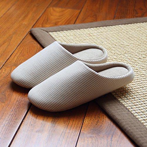 Leinen-loafer (Mayuan-Einfache japanische Art-Herbst-Winter-Ausgangshefterzufuhren bequeme warme Sandelholz Loafer,Hausschuhe aus Baumwolle und Leinen,S?for 35-37?,Beige)