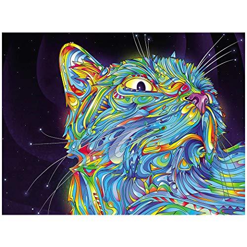 VNEIRW DIY 5D Diamant Painting Kreuzstich Strass Stickerei, Bild auf Leinwand, Weißer Schwan, Katze, Fox, Flugsaurier Wandbild, Wohnzimmer Kunstdrucke (E)