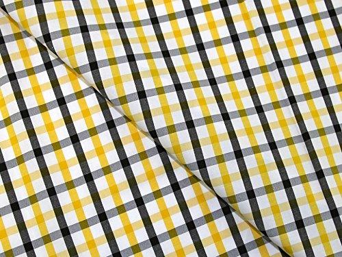 Bunt kariert drucken Polyester & Baumwolle Shirting Kleid Stoff gelb–Meterware Shirting Kleid