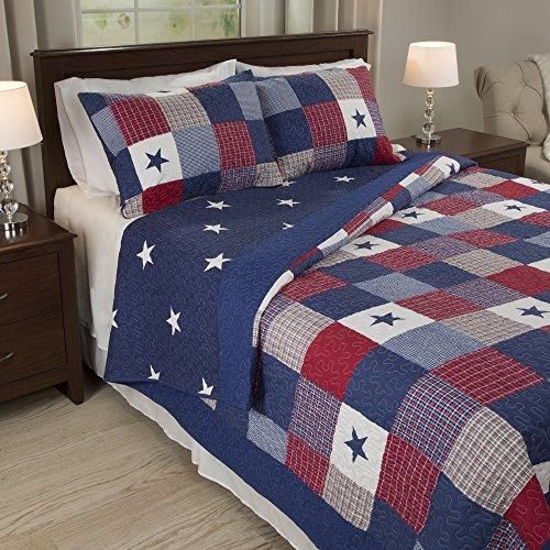 Lavish Home Caroline 2Stück Quilt Set Queen-Size blau - Quilt-set