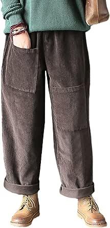 Vogstyle Pantaloni a coste da donna con tasche uniche