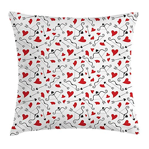 tgyew Valentines Throw Pillow Cushion Cover, Arrows of Cupid Mythological Concepts Hearts with Love and Adoration Themes, Decorative Square Accent Pillow Case, 18 X 18 inches, Black Red White