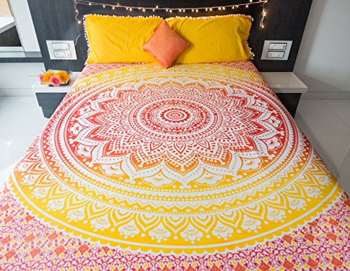Folkulture Sunset Hue Double Bed 100% Cotton Bedsheet With 2 Pillow Covers,  Indian Bohemian Bedspread Set, Queen Size Mandala Tapestry Bedding For  Bedroom
