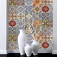 Moroccan Style Mosaic Wallpaper for Home Living Room Bedroom Indoor and TV Background and Vintage Home Decoration,for Room Home Nursery Bedroom Office Supplies Decal Gift (Color : #2)