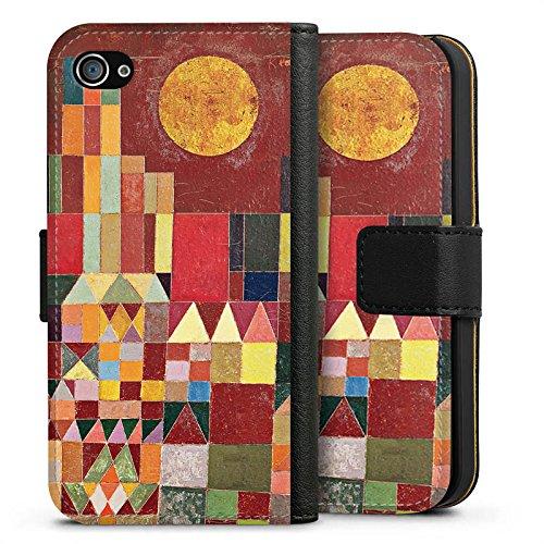 Apple iPhone X Silikon Hülle Case Schutzhülle Paul Klee Castle and Sun Kunst Sideflip Tasche schwarz