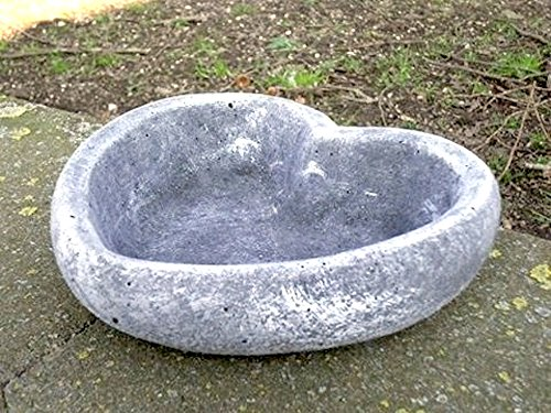 floristikvergleich.de DS Steinfiguren Garten Deko Grabschmuck Pflanzschale HERZ groß *, massiver Steinguss, frostfest bis -30°C