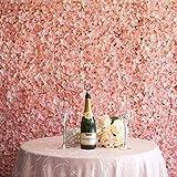 Artificiel Fleur Mur Fausse Panneau de Hortensia Simulation Plante de Haie pour Décoration Mariage Saint Valentin Anniversaire Salon Fond Jardin Mur de Clôture Balcon 4PCS 40 * 60CM (Rose)