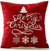 SODIAL(R) Christmas Pine Tree Snowflake Merry Christmas In Red flax Throw Pillow Case Cushion Cover Home Office Living Room Decorative Square 18 X 18 inch Christmas Gifts;white+ red