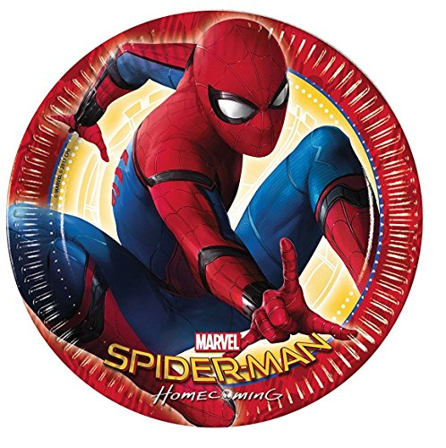 Generique - 8 Assiettes 23cm Spiderman Homecoming
