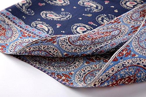 KAXIDY Robe Courte Rétro Fleurs Haut-cou Jupe Plissée Bleu
