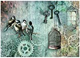Reispapier A4 - Birdcage with key. Motiv-Strohseide