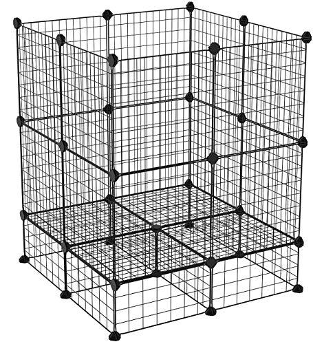 SONGMICS Metallgitter Käfig für Kleintiere, erweiterbar, DIY, mit Bodenplatten, Freigehege, Laufstall für Haustier, Meerschweinchen, Welpen, Kaninchen, Inneneinsatz LPI03H