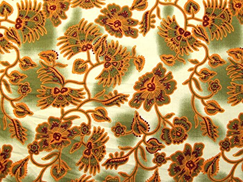 Minerva Crafts Floral Print Baumwolle Stoff Poplin-Salbei-Meterware -