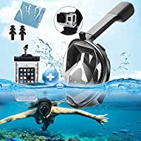 180° Full Face Snorkel Mask - Panoramic Seaview Diving Mask and Snorkel with GroPro Mount Anti-Fog Anti Leak Swim Mask for Adults