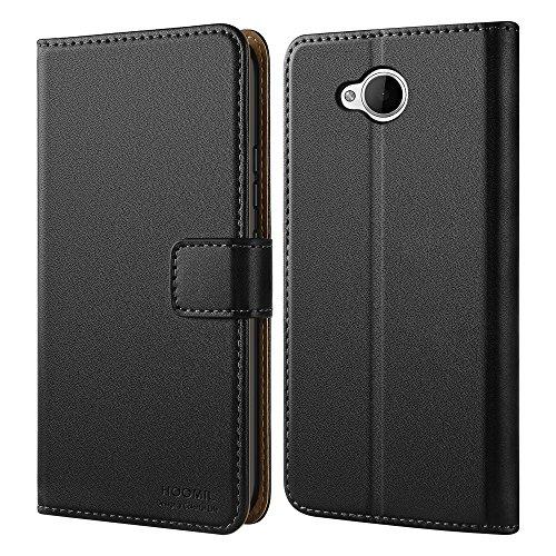 Microsoft Lumia 650 Hülle, HOOMIL Handyhülle für Microsoft Lumia 650 Tasche Leder Flip Case Brieftasche Etui Handy Schutzhülle - Schwarz (H3130)
