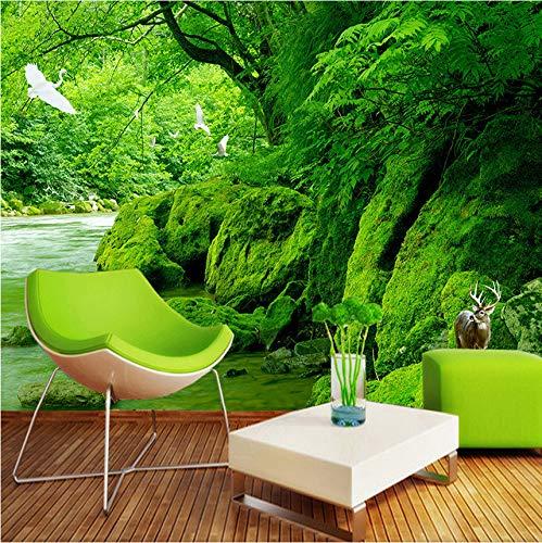 Mkkwp Benutzerdefinierte 3D Foto Tapete Green Forest Naturlandschaft Wandmalerei Hd Wohnzimmer Sofa Hintergrundbild Home Decor Wandbild-350Cmx245Cm