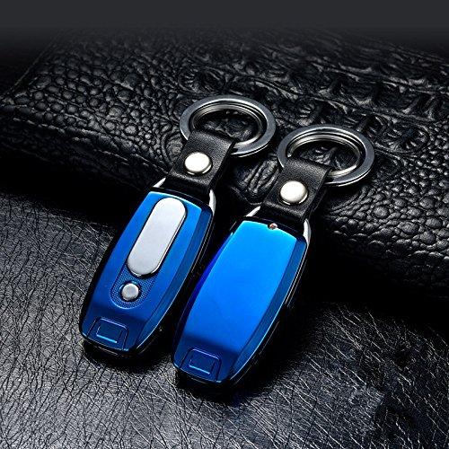 (lingan Feuerzeuge USB Feuerzeug Tragbare wiederaufladbare flammenlose winddicht Elektronische Zigarette Feuerzeug mit Schlüsselanhänger Taschenlampe, blau)
