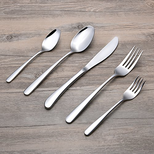 Edelstahl Besteck Besteck Geschirr Set 304 Edelstahl (18-8), Silber Spiegel poliert, Hotel Qualität, gehören Messer / Gabel / Löffel, Spülmaschinenfest Geschirr (5 Stück Besteck Set)