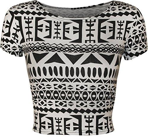 Donna Animal Aztec Skull camo stampa maniche da donna corto crop top–taglie 8–14 Groß Aztec