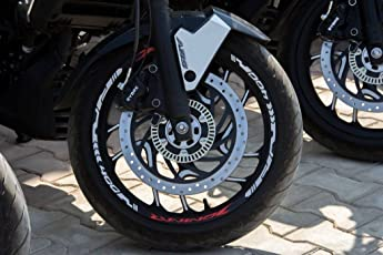 DELHI TRADERSS BAJAJ Dominar 400 Rim/Tire Strips Sticker Hyper Red and White Reflective