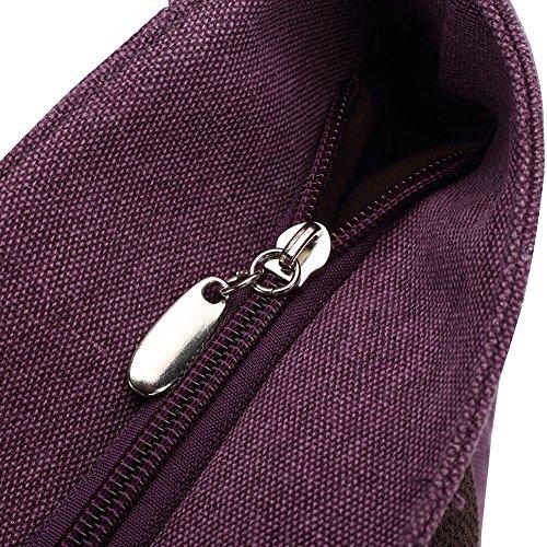 KAUKKO Damen Vintage Canvas Schultertasche Purpel (94) Purple