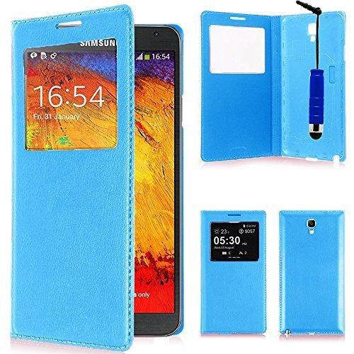 VCOMP Custodia Cover Guscio sportellino Vista Compatibile con Samsung Galaxy Note 3 Neo/Lite Duos 3G LTE SM-N750 SM-N7505 SM-N7502 - Blu + Mini Pennino