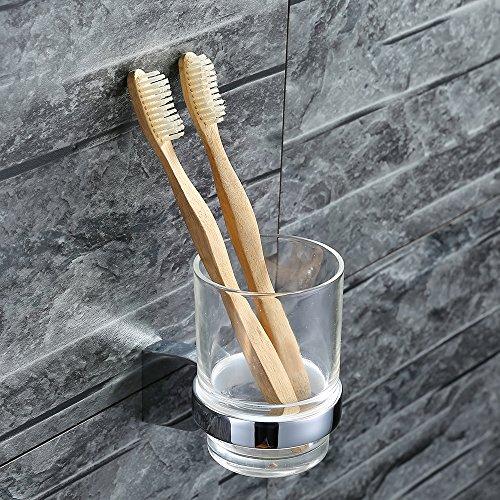 Homelody Zahnputzbecher Glas + Edelstahl Zahnputzset - Becherhalter Zahnbürstenhalter