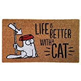 Puckator Simon's Zerbino-Life is Better with a Cat, Fibra di Cocco, Marrone, 75 x 2 x 45 cm