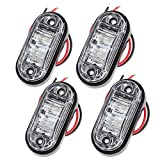 PROZOR Side Light 4PCS Waterproof LED Side Marker Lights 12V/24V White Bright LED Side Lights for Car Truck Van Trailers Lorry