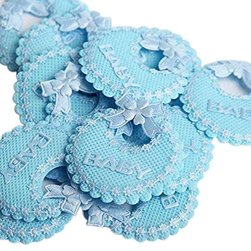 C.x.y. 50 pezzi decorazione bomboniere bavaglino fiocco nascita battesimo accessori per scatola barattolo (azzurro)