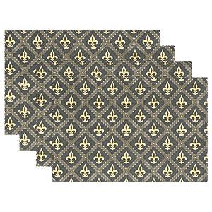 naanle Fleur de Lis Gold Textur Flower Klassik Mittelalter Tischsets Set von 1/4/6waschbar Tisch Matte für Küche Esstisch 30,5x 45,7cm Platzsets Traditionell multi