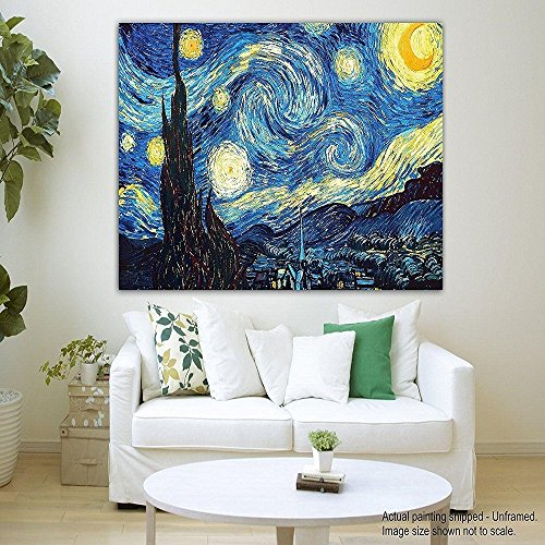 Canvas Painting The Starry Night Vincent Van Gogh Modern Art Framed painting for living room bedroom  available at amazon for Rs.325