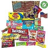 Heavenly Sweets Cesta de Golosinas Vegetarianas Americanos - Selección de Golosinas y Chocolates de EE.UU. - Regalo de Navidad, Cumpleaños, San Valentín - 20 Caramelos en Envases Retro