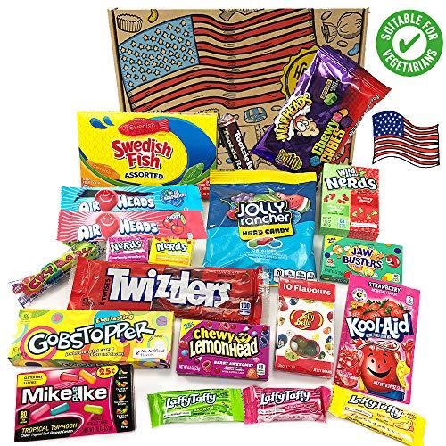 Heavenly Sweets Amerikanische Vegetarische Süßigkeiten-Box - Auswahl an süßen Leckereien & Pralinen aus den USA - Geschenke für Weihnachten, Geburtstag, Valentinstag - 20 Stk., coole Retro-Box