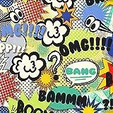 Diseño de cómic Text Speak tela OMG! Carcasa tela - 0,5 m diseño de señales de - azul y amarillo verde para niños tela - 0,5 Metre - 100% Cotto