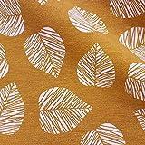 Stoff Meterware Baumwolle gelb senf Blatt Blätter Vorhang