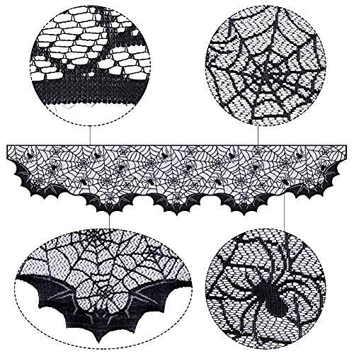 Halloween-Spinnennetz-Spitze-Feuer-Tuch-schwarzer Schläger-Kamin-Schal-Dekorations-Kaminsims-Schal