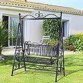 Outsunny® Hollywoodschaukel Metall Schaukelbank Gartenschaukel 2-Sitzer Schwarz von Outsunny - Gartenmöbel von Du und Dein Garten