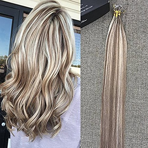 Full Shine 20 Zoll Nano Loop Human Hair Extension Farbe #10 und #613 Blondine Highlighted 100 Echte Haar Best Quality Human Hair Extensions Salon 40g 50Strands Per Paket