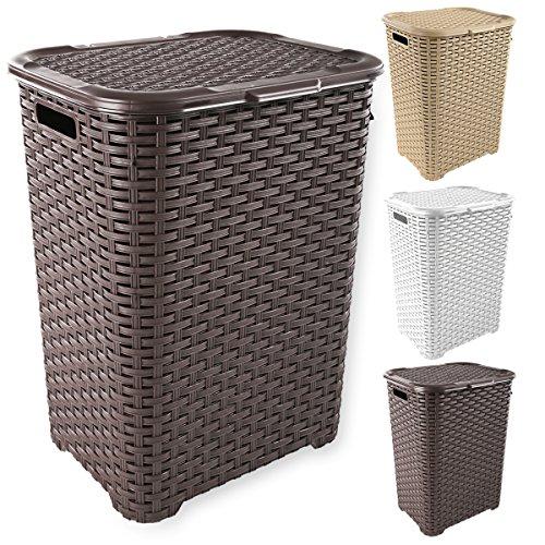 Wäschekorb in Rattan Optik 60 Liter -atmungsaktiv- mit offen gestalteter Struktur in 4 verschiedenen Farben (Braun)