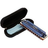 East Top 10 trous 20 tons 008K Clé d'harmonica diatonique A avec boîtier bleu, harmonica standard pour adultes, joueurs…