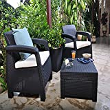Keter Corfu Outdoor Rattan Balcony Garden Furniture Set, 2 Seater - Graphite with Mushroom Cushions