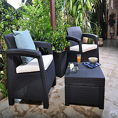 Keter Corfu Outdoor Rattan Balcony Garden Furniture Set, 2 Seater – Graphite with Mushroom Cushions