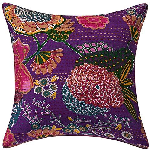Stylo Culture etnico decorativo cuscini per letto viola kantha stampato Accent cuscino del cotone quadrato tradizionale Tropicana 60x 60cm cuscini (1PC)