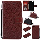 BONROY Oppo R9s Case, Oppo R9s Leather Wallet Case Embossing Pattern Design Leather Flip BookStyle Phone Cover Magnetic Folio Wallet Bag Case Cover for Oppo R9s-(Rattan flowers-brown)