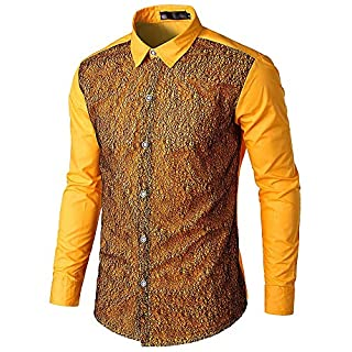 Anglewolf Fashion Mens Autumn Casual T Shirt Lace Patchwork Shirts Long Sleeve Shirt Fashion Blouse Outfits Button Clothes Tops Autumn Tee Gentleman Top Formal Sweatshirt(Yellow,XL)