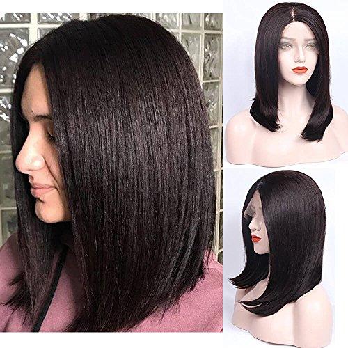 Perruque ZeroBlizzard courte brun foncé avec côté court cheveux lisses de longueur jusqu'aux épaules perruque synthétique à dentelle sans colle pour femme fibre résistant à la chaleur nouées à la main 40,6 cm